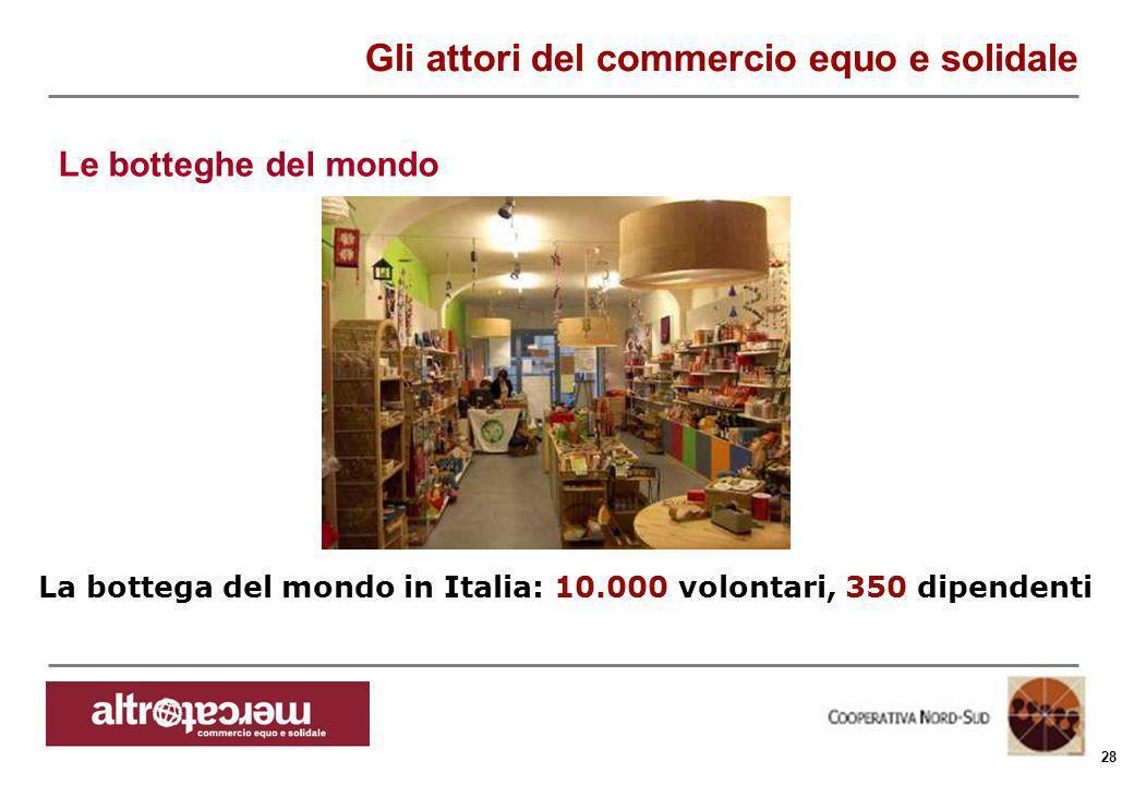Consorzio Ctm altromercato info@altromercato.it www.altromercato.it 28 La bottega del mondo in Italia: 10.000 volontari, 350 dipendenti Gli attori del