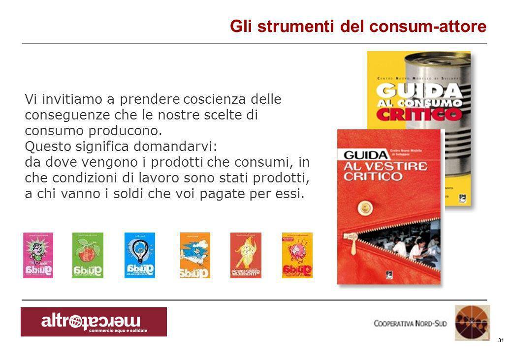 Consorzio Ctm altromercato info@altromercato.it www.altromercato.it Gli strumenti del consum-attore 31 Vi invitiamo a prendere coscienza delle consegu