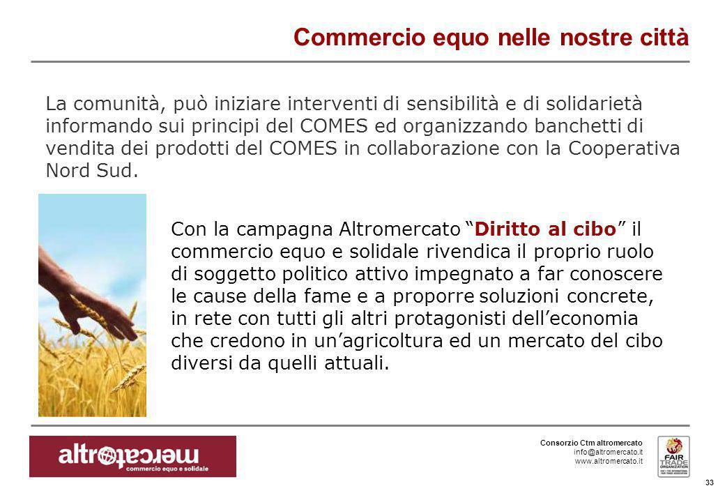 Consorzio Ctm altromercato info@altromercato.it www.altromercato.it Commercio equo nelle nostre città 33 La comunità, può iniziare interventi di sensi