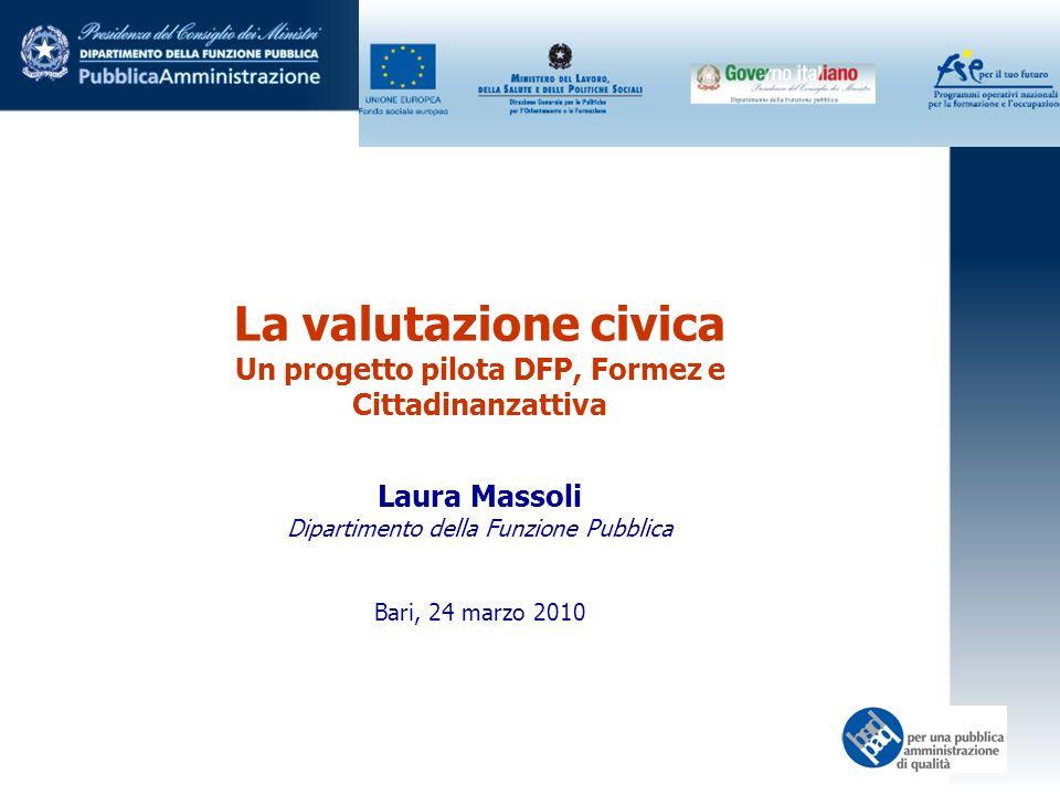 La valutazione civica Un progetto pilota DFP, Formez e Cittadinanzattiva Laura Massoli Dipartimento della Funzione Pubblica Bari, 24 marzo 2010