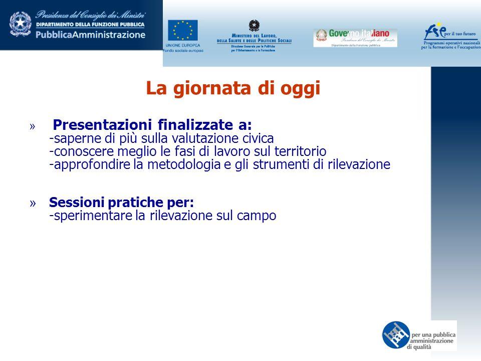 La giornata di oggi » Presentazioni finalizzate a: -saperne di più sulla valutazione civica -conoscere meglio le fasi di lavoro sul territorio -approfondire la metodologia e gli strumenti di rilevazione » Sessioni pratiche per: -sperimentare la rilevazione sul campo