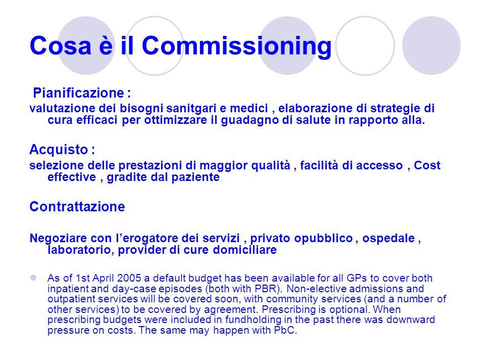 Cosa è il Commissioning Pianificazione : valutazione dei bisogni sanitgari e medici, elaborazione di strategie di cura efficaci per ottimizzare il gua