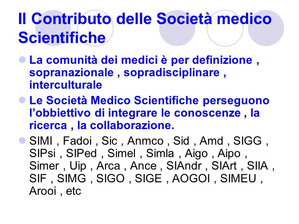 Il Contributo delle Società medico Scientifiche La comunità dei medici è per definizione, sopranazionale, sopradisciplinare, interculturale Le Società Medico Scientifiche perseguono lobbiettivo di integrare le conoscenze, la ricerca, la collaborazione.