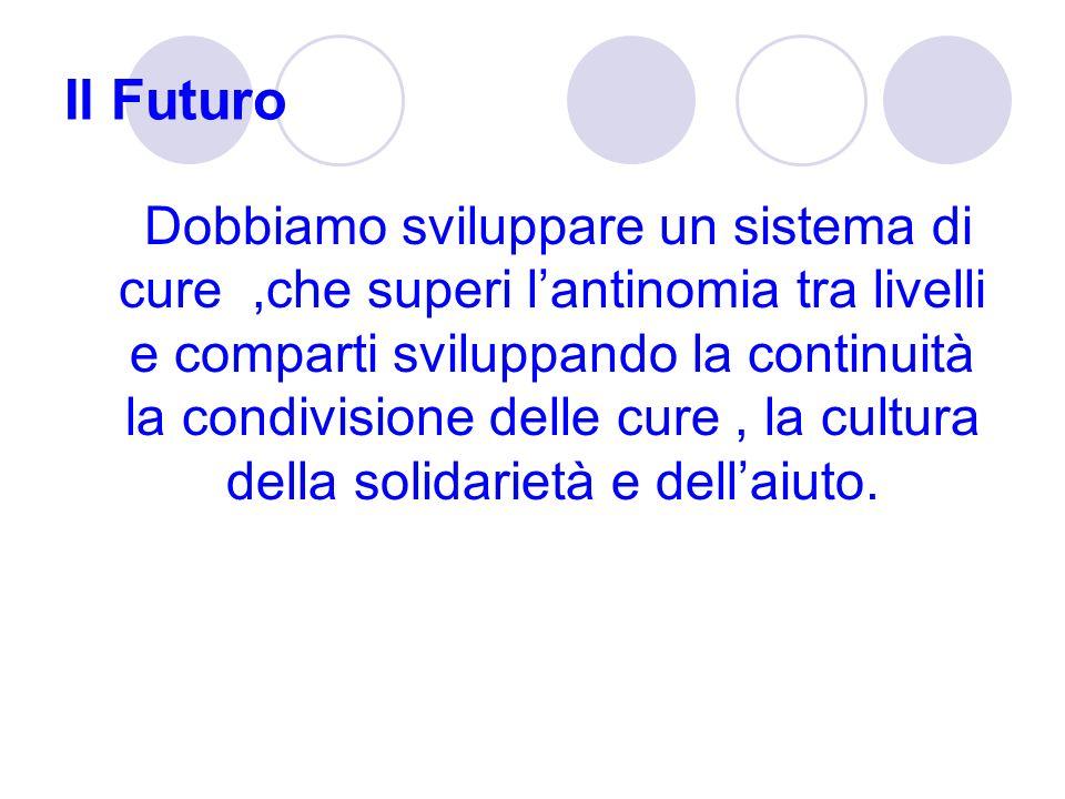 Il Futuro Dobbiamo sviluppare un sistema di cure,che superi lantinomia tra livelli e comparti sviluppando la continuità la condivisione delle cure, la