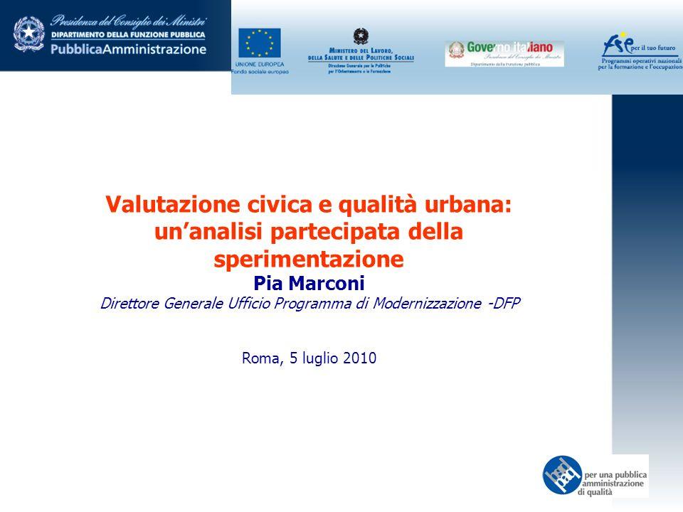 Valutazione civica e qualità urbana: unanalisi partecipata della sperimentazione Pia Marconi Direttore Generale Ufficio Programma di Modernizzazione -DFP Roma, 5 luglio 2010