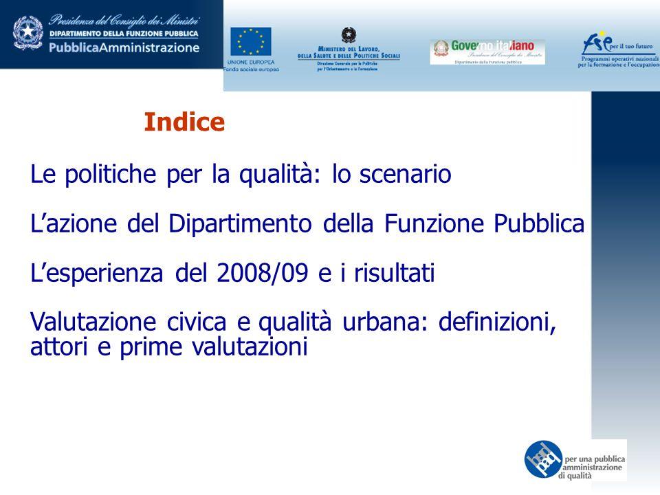 Indice Le politiche per la qualità: lo scenario Lazione del Dipartimento della Funzione Pubblica Lesperienza del 2008/09 e i risultati Valutazione civ