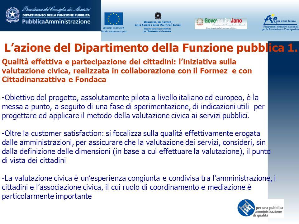 Lazione del Dipartimento della Funzione pubblica 1. Qualità effettiva e partecipazione dei cittadini: liniziativa sulla valutazione civica, realizzata