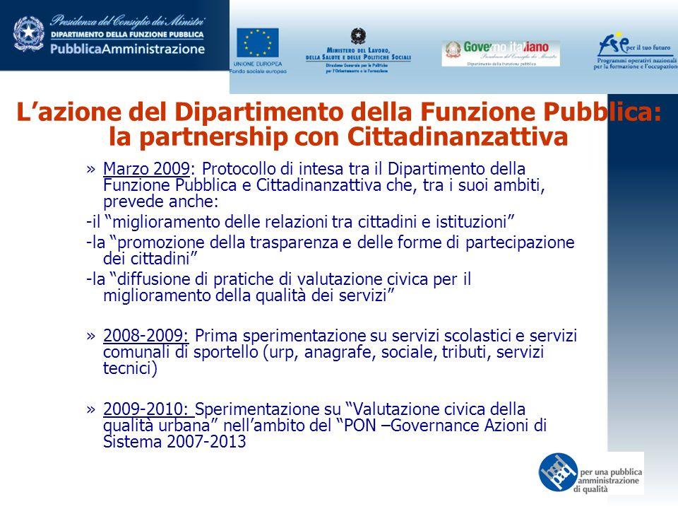 Lazione del Dipartimento della Funzione Pubblica: la partnership con Cittadinanzattiva »Marzo 2009: Protocollo di intesa tra il Dipartimento della Fun