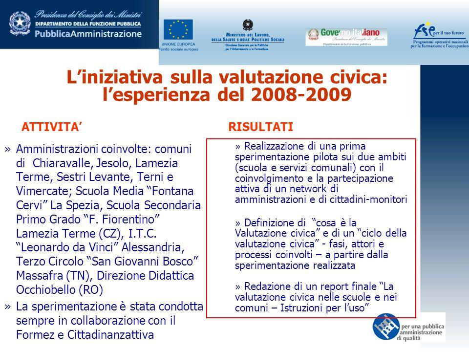 Liniziativa sulla valutazione civica: lesperienza del 2008-2009 »Amministrazioni coinvolte: comuni di Chiaravalle, Jesolo, Lamezia Terme, Sestri Levan