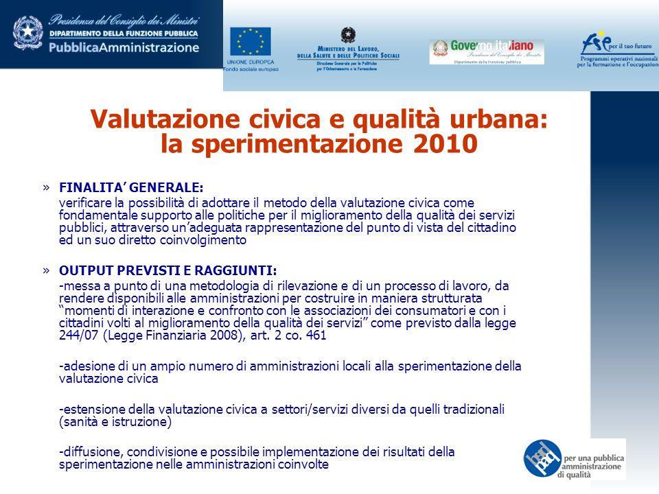 Valutazione civica e qualità urbana: la sperimentazione 2010 »FINALITA GENERALE: verificare la possibilità di adottare il metodo della valutazione civ