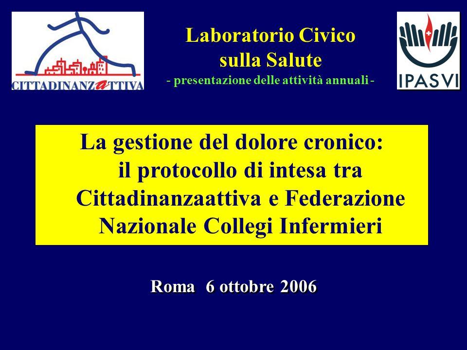 Roma 6 ottobre 2006 La gestione del dolore cronico: il protocollo di intesa tra Cittadinanzaattiva e Federazione Nazionale Collegi Infermieri Laborato
