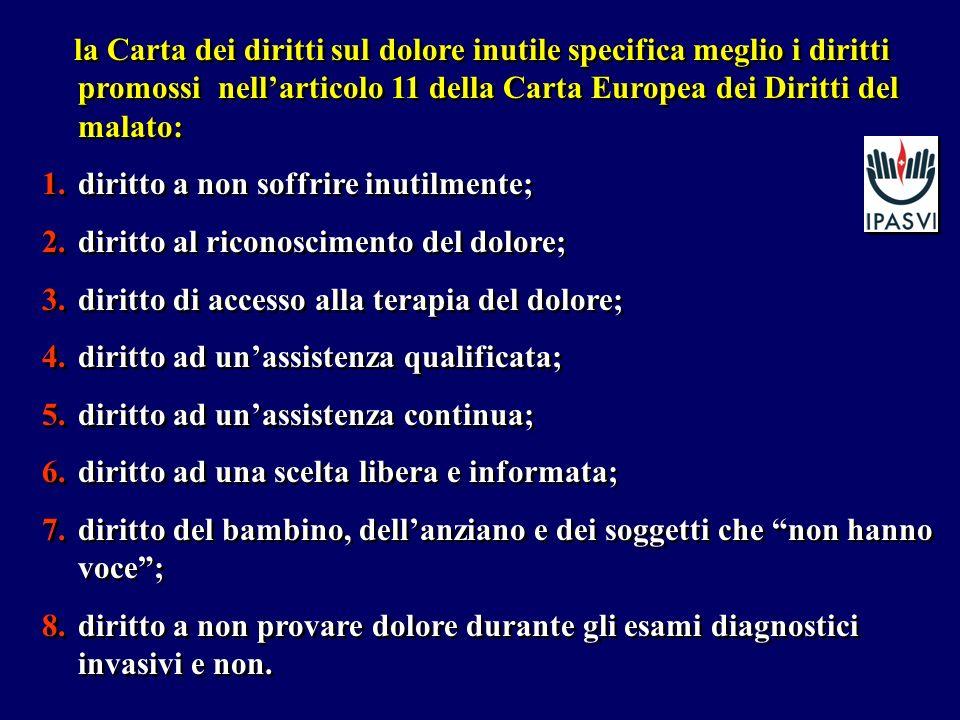 la Carta dei diritti sul dolore inutile specifica meglio i diritti promossi nellarticolo 11 della Carta Europea dei Diritti del malato: 1.diritto a no