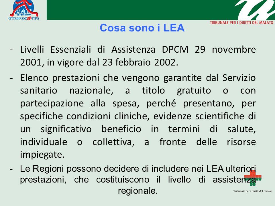 Cosa sono i LEA -Livelli Essenziali di Assistenza DPCM 29 novembre 2001, in vigore dal 23 febbraio 2002. -Elenco prestazioni che vengono garantite dal