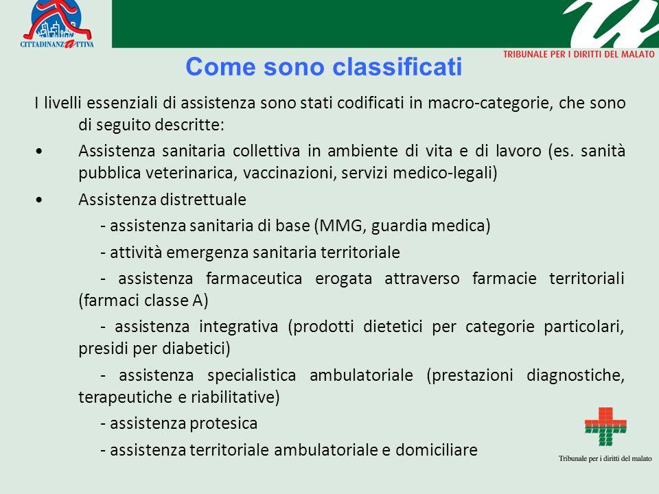 Come sono classificati I livelli essenziali di assistenza sono stati codificati in macro-categorie, che sono di seguito descritte: Assistenza sanitari
