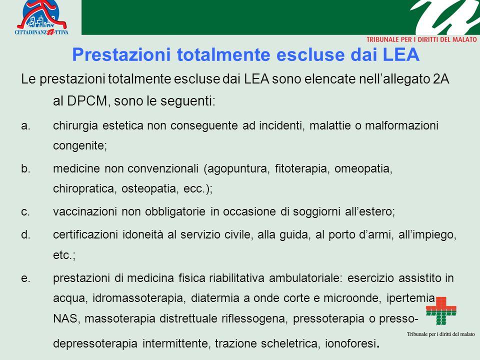 Prestazioni totalmente escluse dai LEA Le prestazioni totalmente escluse dai LEA sono elencate nellallegato 2A al DPCM, sono le seguenti: a.chirurgia