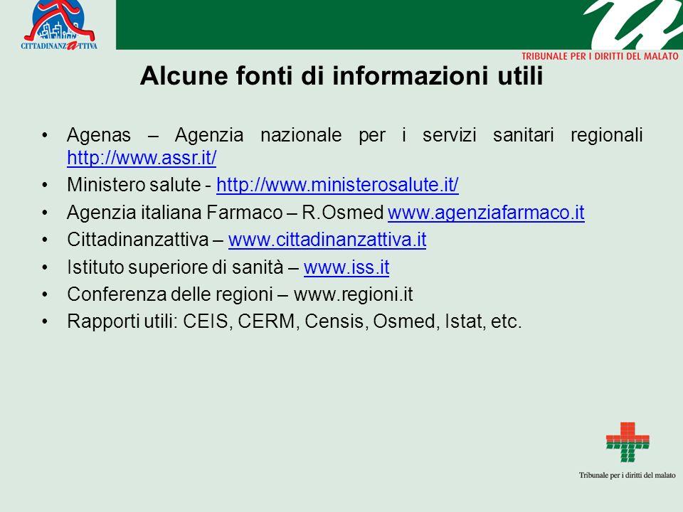 Alcune fonti di informazioni utili Agenas – Agenzia nazionale per i servizi sanitari regionali http://www.assr.it/ http://www.assr.it/ Ministero salut