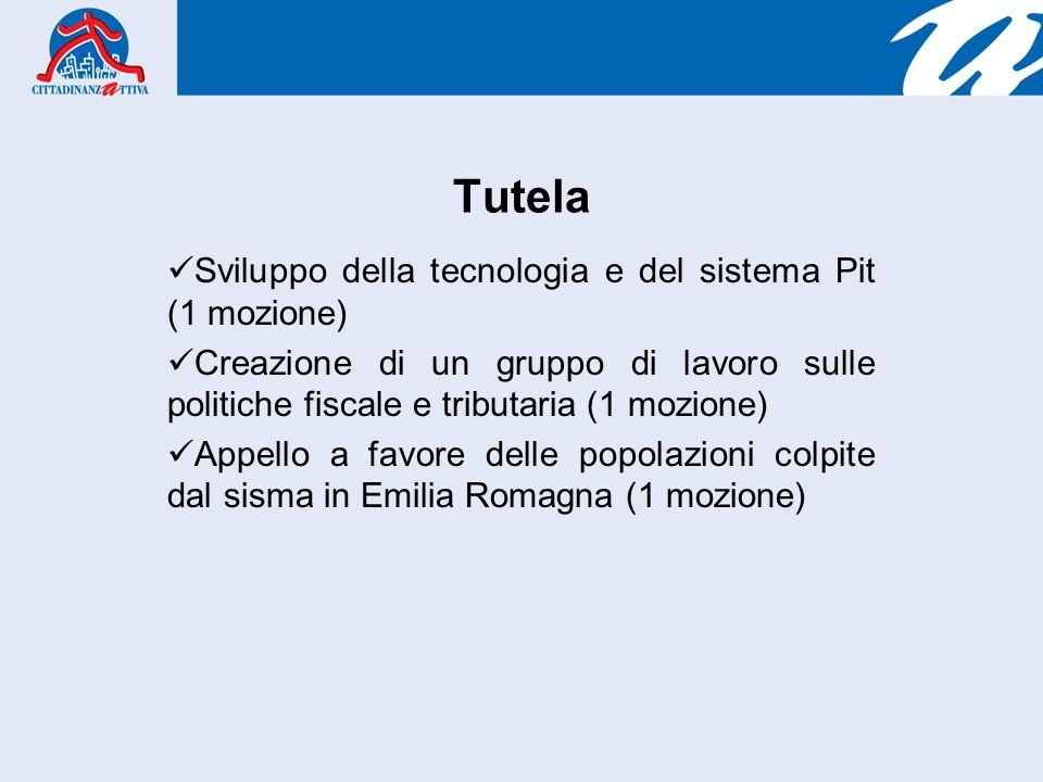 Tutela Sviluppo della tecnologia e del sistema Pit (1 mozione) Creazione di un gruppo di lavoro sulle politiche fiscale e tributaria (1 mozione) Appello a favore delle popolazioni colpite dal sisma in Emilia Romagna (1 mozione)