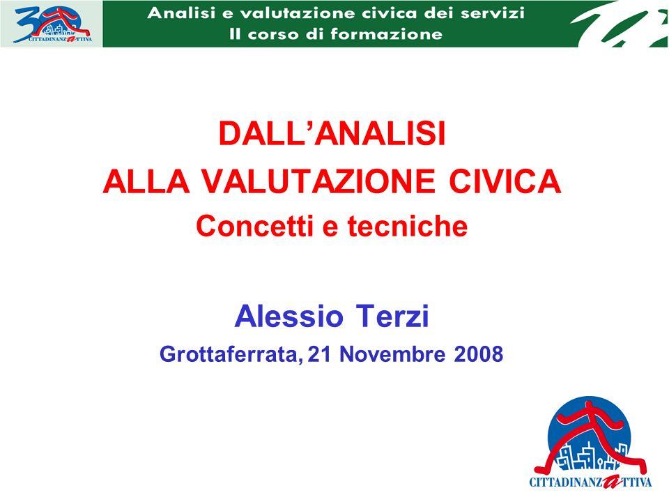 DALLANALISI ALLA VALUTAZIONE CIVICA Concetti e tecniche Alessio Terzi Grottaferrata, 21 Novembre 2008