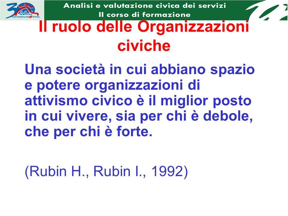 Il ruolo delle Organizzazioni civiche Una società in cui abbiano spazio e potere organizzazioni di attivismo civico è il miglior posto in cui vivere, sia per chi è debole, che per chi è forte.
