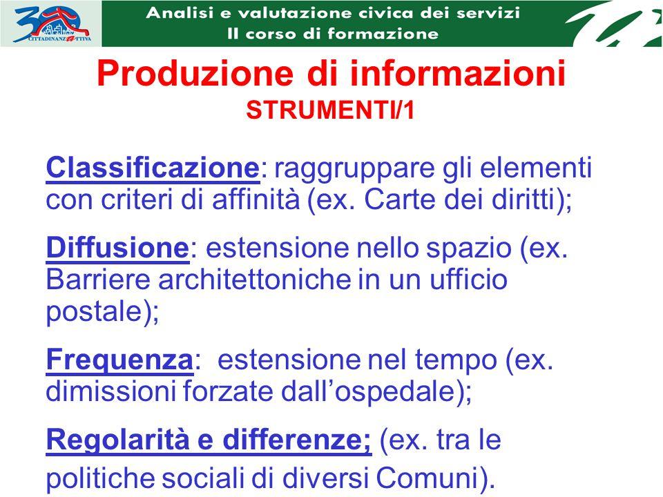 Produzione di informazioni STRUMENTI/1 Classificazione: raggruppare gli elementi con criteri di affinità (ex.