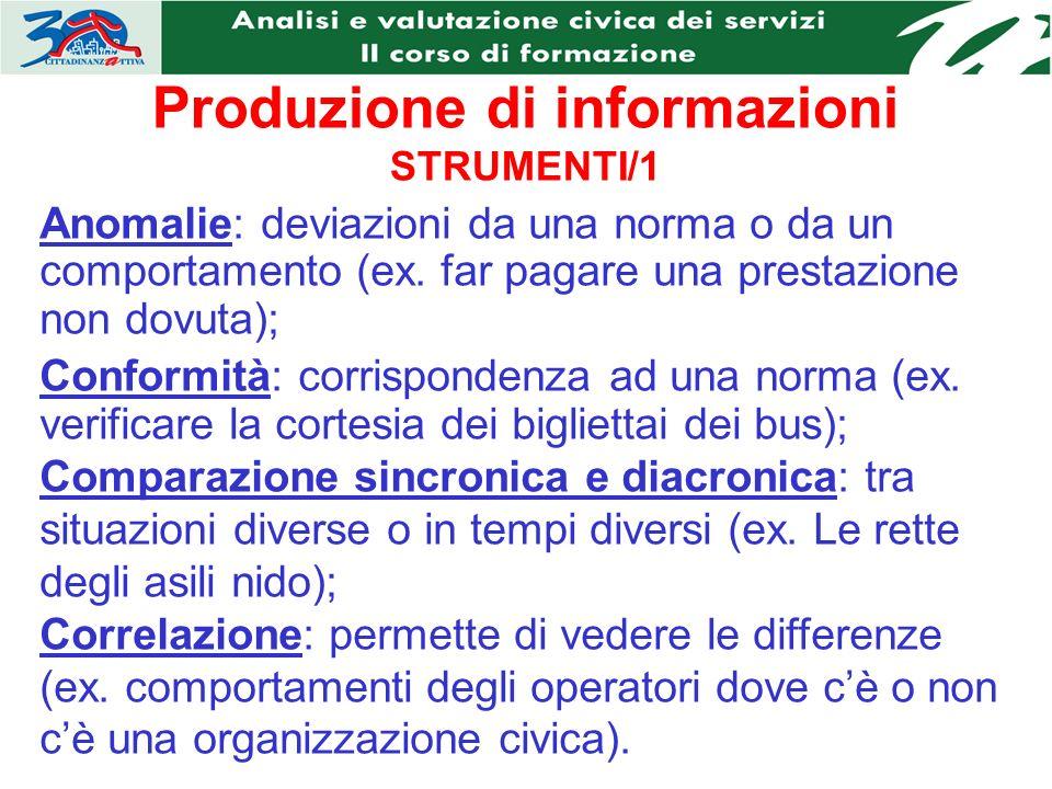 Produzione di informazioni STRUMENTI/1 Anomalie: deviazioni da una norma o da un comportamento (ex.