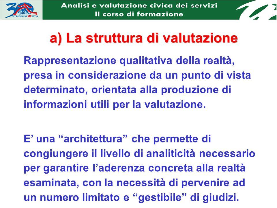 a) La struttura di valutazione Rappresentazione qualitativa della realtà, presa in considerazione da un punto di vista determinato, orientata alla produzione di informazioni utili per la valutazione.