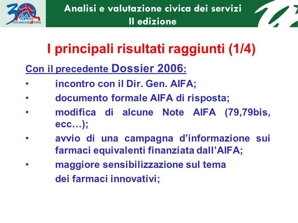 I principali risultati raggiunti (1/4) Con il precedente Dossier 2006 : incontro con il Dir.