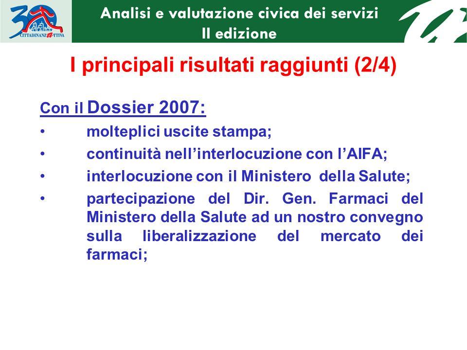 I principali risultati raggiunti (2/4) Con il Dossier 2007: molteplici uscite stampa; continuità nellinterlocuzione con lAIFA; interlocuzione con il Ministero della Salute; partecipazione del Dir.