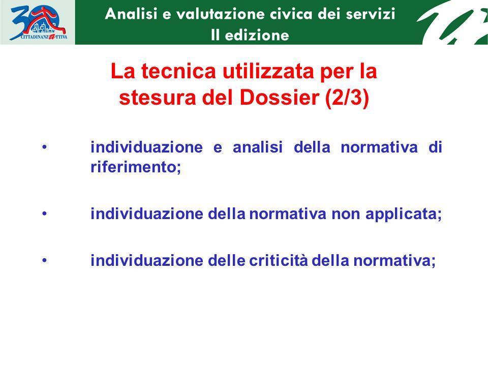 La tecnica utilizzata per la stesura del Dossier (2/3) individuazione e analisi della normativa di riferimento; individuazione della normativa non applicata; individuazione delle criticità della normativa;