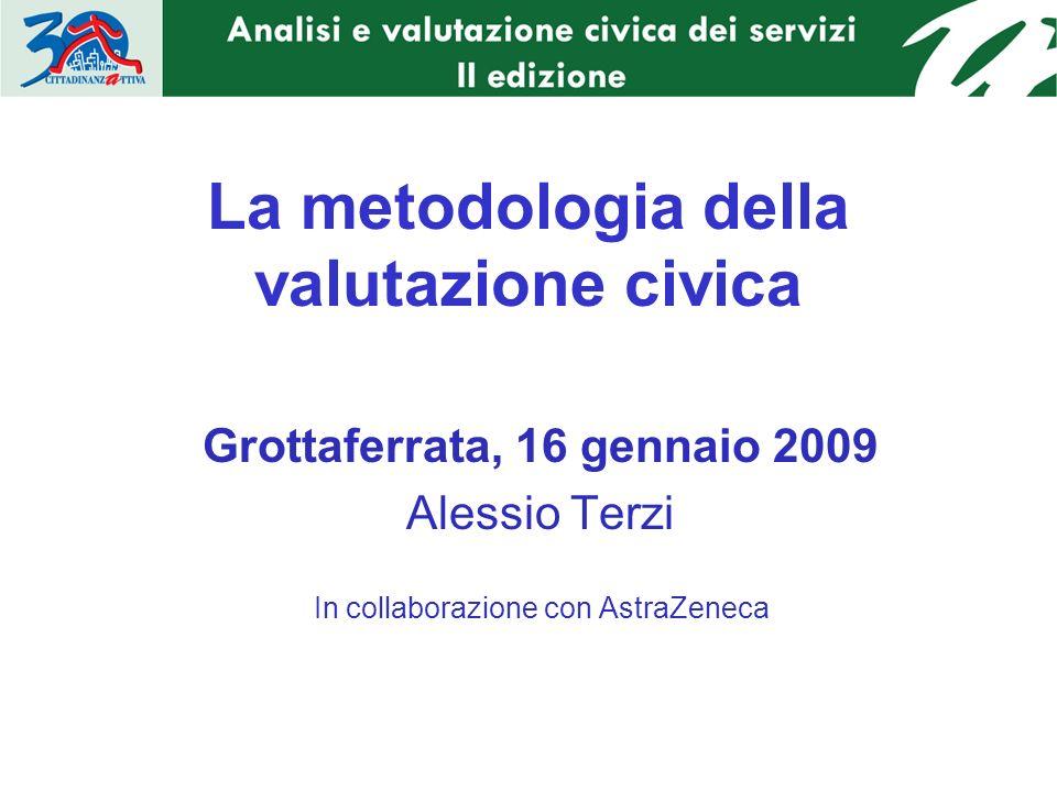 La metodologia della valutazione civica Grottaferrata, 16 gennaio 2009 Alessio Terzi In collaborazione con AstraZeneca