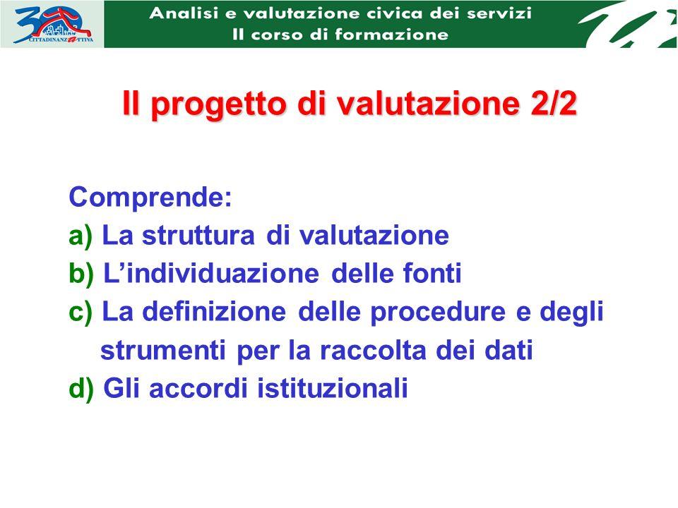 Il progetto di valutazione 2/2 Comprende: a) La struttura di valutazione b) Lindividuazione delle fonti c) La definizione delle procedure e degli strumenti per la raccolta dei dati d) Gli accordi istituzionali