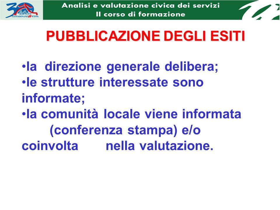 PUBBLICAZIONEDEGLI ESITI PUBBLICAZIONE DEGLI ESITI la direzione generale delibera; le strutture interessate sono informate; la comunità locale viene informata (conferenza stampa) e/o coinvolta nella valutazione.