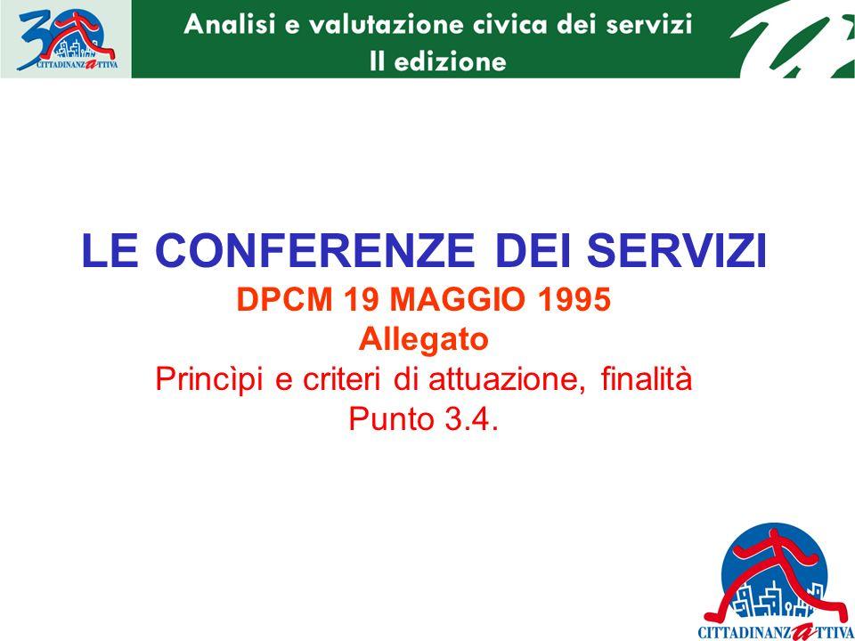 LE CONFERENZE DEI SERVIZI DPCM 19 MAGGIO 1995 Allegato Princìpi e criteri di attuazione, finalità Punto 3.4.