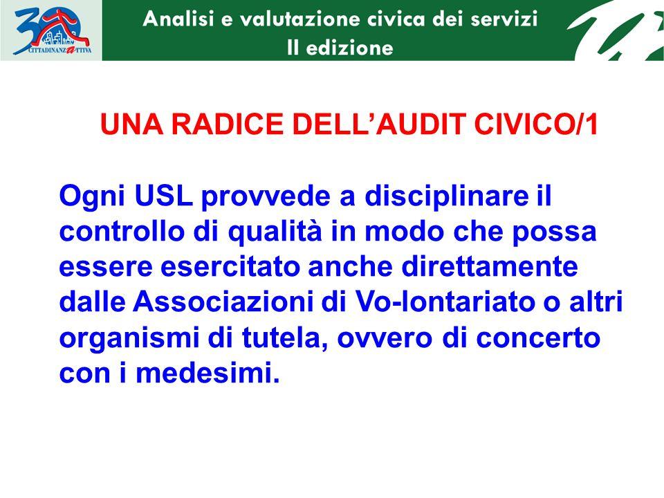 UNA RADICE DELLAUDIT CIVICO/1 Ogni USL provvede a disciplinare il controllo di qualità in modo che possa essere esercitato anche direttamente dalle As