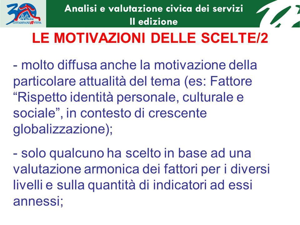 LE MOTIVAZIONI DELLE SCELTE/2 - molto diffusa anche la motivazione della particolare attualità del tema (es: Fattore Rispetto identità personale, cult