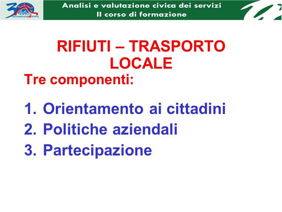 RIFIUTI – TRASPORTO LOCALE Tre componenti: 1.Orientamento ai cittadini 2.Politiche aziendali 3.Partecipazione