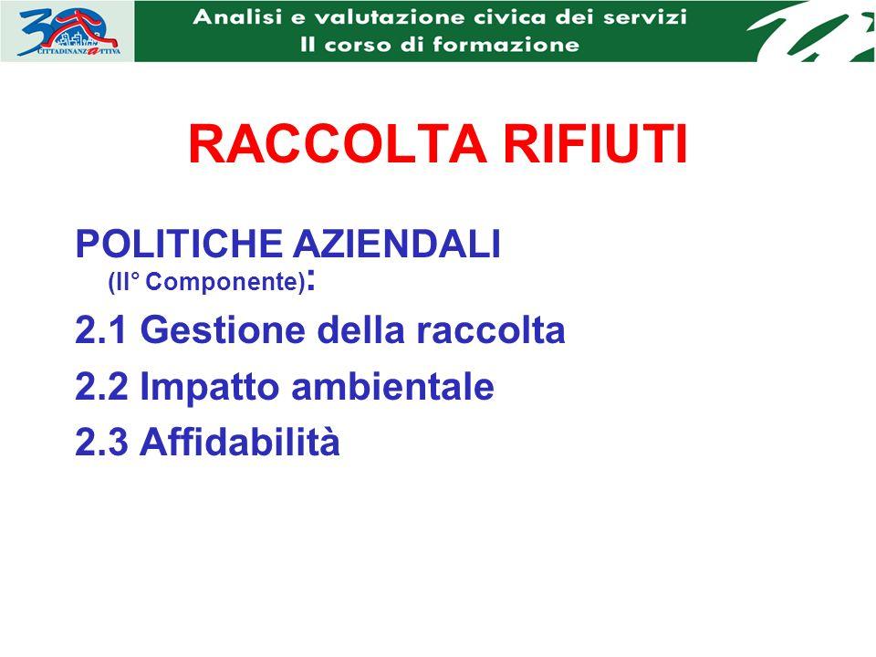 RACCOLTA RIFIUTI POLITICHE AZIENDALI (II° Componente) : 2.1 Gestione della raccolta 2.2 Impatto ambientale 2.3 Affidabilità