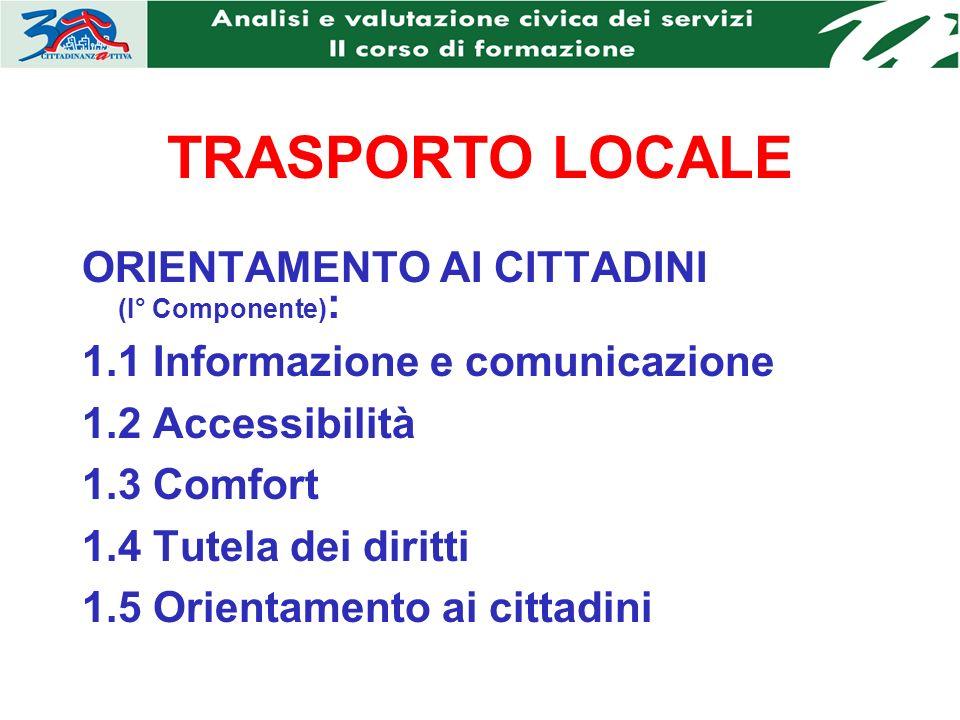 TRASPORTO LOCALE ORIENTAMENTO AI CITTADINI (I° Componente) : 1.1 Informazione e comunicazione 1.2 Accessibilità 1.3 Comfort 1.4 Tutela dei diritti 1.5