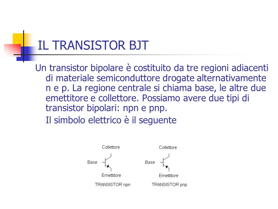 IL TRANSISTOR BJT Un transistor bipolare è costituito da tre regioni adiacenti di materiale semiconduttore drogate alternativamente n e p. La regione