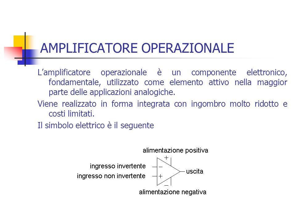 AMPLIFICATORE OPERAZIONALE Lamplificatore operazionale è un componente elettronico, fondamentale, utilizzato come elemento attivo nella maggior parte