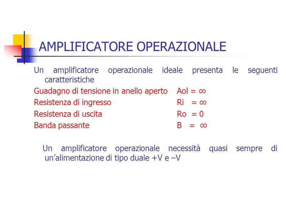 AMPLIFICATORE OPERAZIONALE Un amplificatore operazionale ideale presenta le seguenti caratteristiche Guadagno di tensione in anello aperto Aol = Resis