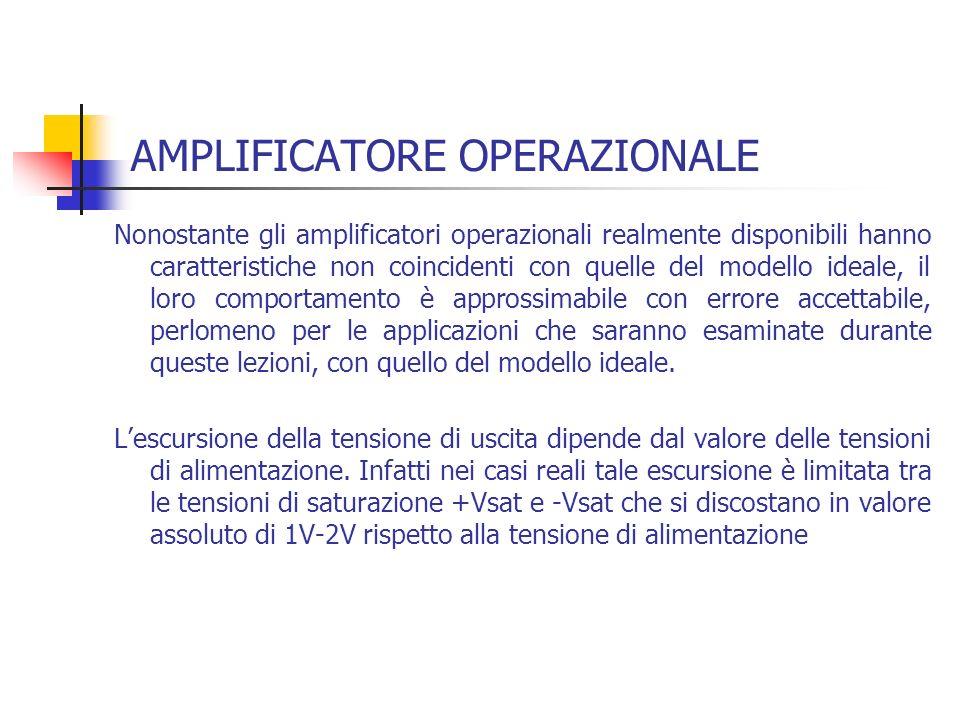 AMPLIFICATORE OPERAZIONALE Nonostante gli amplificatori operazionali realmente disponibili hanno caratteristiche non coincidenti con quelle del modell