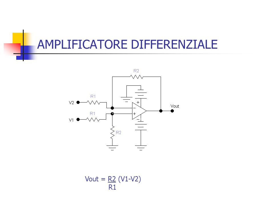 AMPLIFICATORE DIFFERENZIALE Vout = R2 (V1-V2) R1
