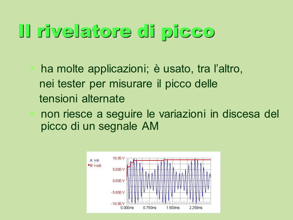 Il rivelatore di picco ha molte applicazioni; è usato, tra laltro, nei tester per misurare il picco delle tensioni alternate non riesce a seguire le v