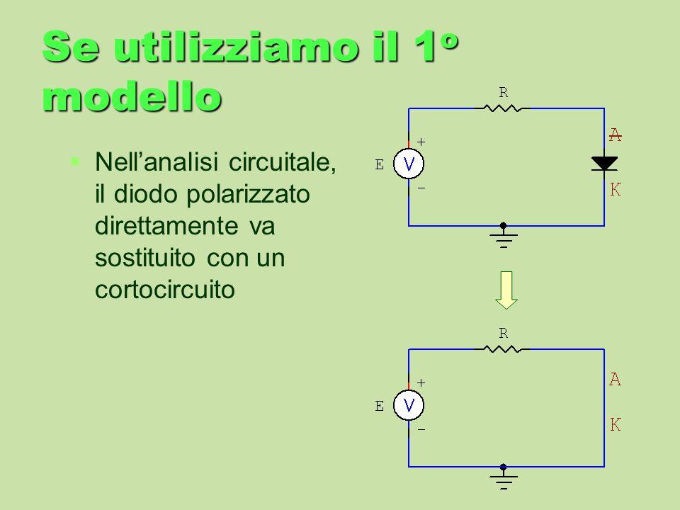 Se utilizziamo il 1 o modello Nellanalisi circuitale, il diodo polarizzato direttamente va sostituito con un cortocircuito