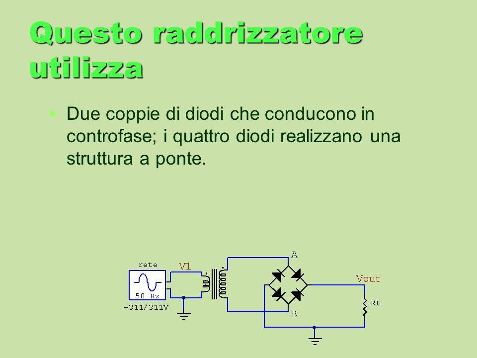 Questo raddrizzatore utilizza Due coppie di diodi che conducono in controfase; i quattro diodi realizzano una struttura a ponte.