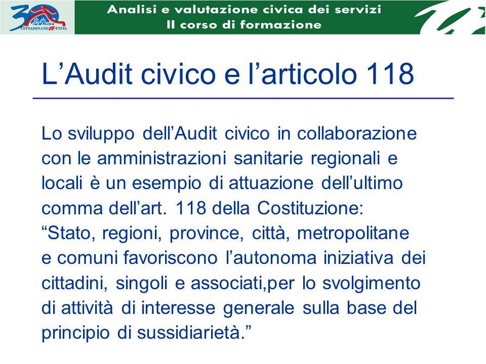 LAudit civico e larticolo 118 Lo sviluppo dellAudit civico in collaborazione con le amministrazioni sanitarie regionali e locali è un esempio di attuazione dellultimo comma dellart.