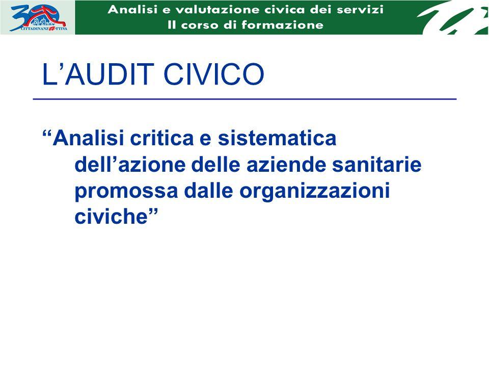 LAUDIT CIVICO Analisi critica e sistematica dellazione delle aziende sanitarie promossa dalle organizzazioni civiche