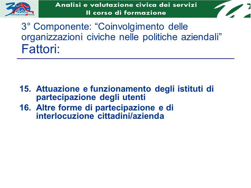 3° Componente: Coinvolgimento delle organizzazioni civiche nelle politiche aziendali Fattori: Attuazione e funzionamento degli istituti di partecipazi