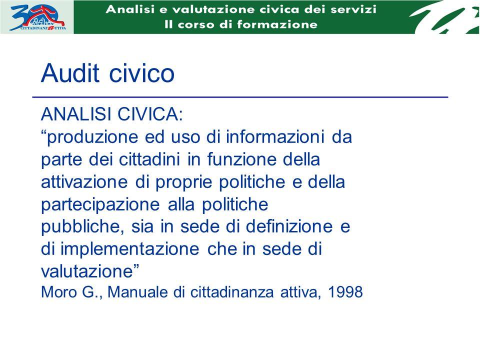 Audit civico ANALISI CIVICA: produzione ed uso di informazioni da parte dei cittadini in funzione della attivazione di proprie politiche e della parte